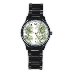 Trees Tile Horizonal Stainless Steel Round Watch