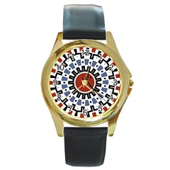 Mandala Art Ornament Pattern Round Gold Metal Watch