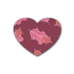 Plumelet Pen Ethnic Elegant Hippie Rubber Coaster (heart)
