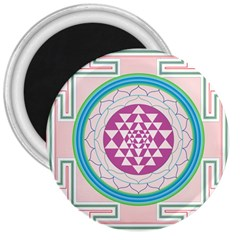 Mandala Design Arts Indian 3  Magnets by Nexatart