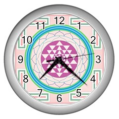 Mandala Design Arts Indian Wall Clocks (silver)  by Nexatart
