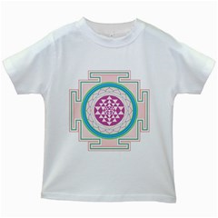 Mandala Design Arts Indian Kids White T Shirts