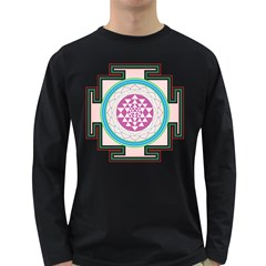 Mandala Design Arts Indian Long Sleeve Dark T Shirts