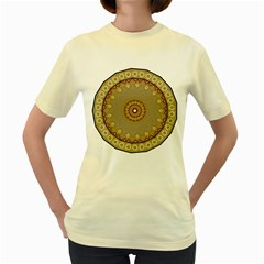 Mandala Art Ornament Pattern Women s Yellow T Shirt