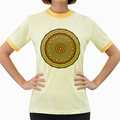 Mandala Art Ornament Pattern Women s Fitted Ringer T Shirts