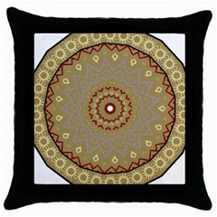 Mandala Art Ornament Pattern Throw Pillow Case (black)