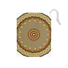 Mandala Art Ornament Pattern Drawstring Pouches (medium)  by Nexatart