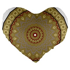 Mandala Art Ornament Pattern Large 19  Premium Flano Heart Shape Cushions