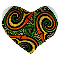 Celtic Celts Circle Color Colors Large 19  Premium Flano Heart Shape Cushions by Nexatart