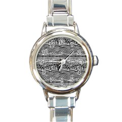 Ethno Seamless Pattern Round Italian Charm Watch