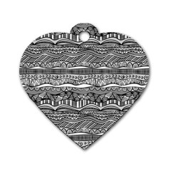 Ethno Seamless Pattern Dog Tag Heart (one Side)