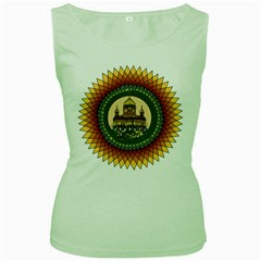 Building Mandala Palace Women s Green Tank Top