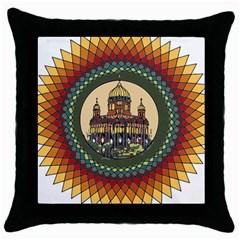 Building Mandala Palace Throw Pillow Case (black)