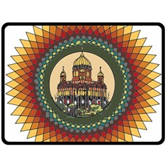 Building Mandala Palace Double Sided Fleece Blanket (large)