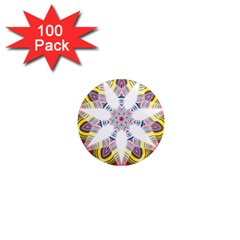 Colorful Chromatic Psychedelic 1  Mini Magnets (100 Pack)