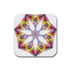 Colorful Chromatic Psychedelic Rubber Coaster (square)