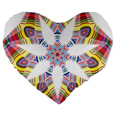 Colorful Chromatic Psychedelic Large 19  Premium Heart Shape Cushions