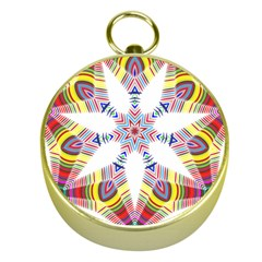Colorful Chromatic Psychedelic Gold Compasses
