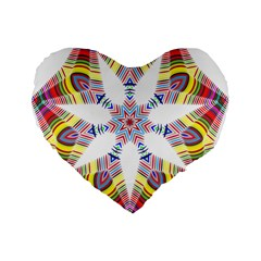 Colorful Chromatic Psychedelic Standard 16  Premium Flano Heart Shape Cushions by Nexatart