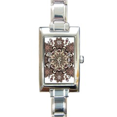 Mandala Pattern Round Brown Floral Rectangle Italian Charm Watch by Nexatart