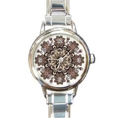 Mandala Pattern Round Brown Floral Round Italian Charm Watch