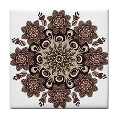 Mandala Pattern Round Brown Floral Tile Coasters by Nexatart
