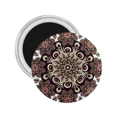 Mandala Pattern Round Brown Floral 2 25  Magnets