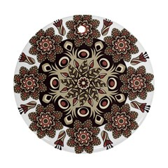 Mandala Pattern Round Brown Floral Ornament (round)