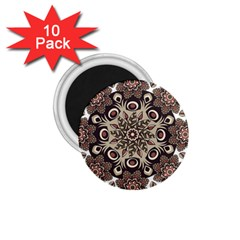 Mandala Pattern Round Brown Floral 1 75  Magnets (10 Pack)