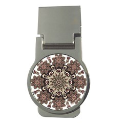 Mandala Pattern Round Brown Floral Money Clips (round)  by Nexatart