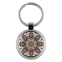 Mandala Pattern Round Brown Floral Key Chains (round)