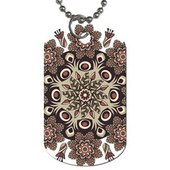Mandala Pattern Round Brown Floral Dog Tag (two Sides)