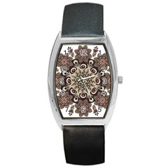 Mandala Pattern Round Brown Floral Barrel Style Metal Watch