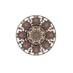 Mandala Pattern Round Brown Floral Hat Clip Ball Marker (4 Pack) by Nexatart