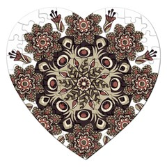 Mandala Pattern Round Brown Floral Jigsaw Puzzle (heart)