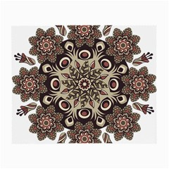 Mandala Pattern Round Brown Floral Small Glasses Cloth