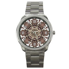 Mandala Pattern Round Brown Floral Sport Metal Watch by Nexatart