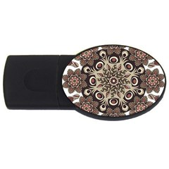 Mandala Pattern Round Brown Floral Usb Flash Drive Oval (4 Gb)