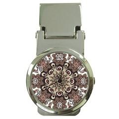 Mandala Pattern Round Brown Floral Money Clip Watches by Nexatart