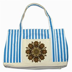 Mandala Pattern Round Brown Floral Striped Blue Tote Bag