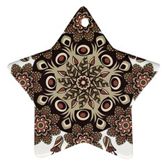 Mandala Pattern Round Brown Floral Star Ornament (two Sides)