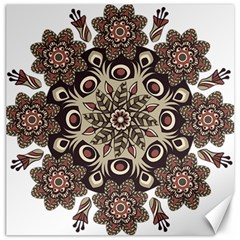 Mandala Pattern Round Brown Floral Canvas 16  X 16   by Nexatart