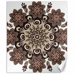 Mandala Pattern Round Brown Floral Canvas 20  X 24