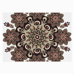 Mandala Pattern Round Brown Floral Large Glasses Cloth by Nexatart