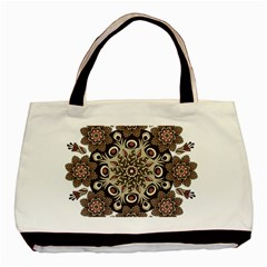 Mandala Pattern Round Brown Floral Basic Tote Bag (two Sides)