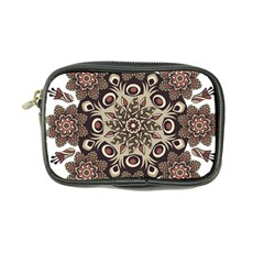 Mandala Pattern Round Brown Floral Coin Purse