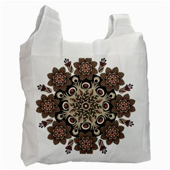 Mandala Pattern Round Brown Floral Recycle Bag (two Side)