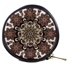 Mandala Pattern Round Brown Floral Mini Makeup Bags