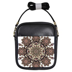 Mandala Pattern Round Brown Floral Girls Sling Bags by Nexatart