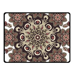 Mandala Pattern Round Brown Floral Fleece Blanket (small)
